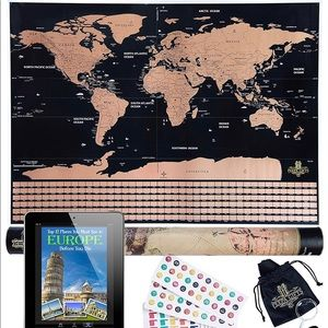 Scratch Off World Map Poster For Travelers, Kids